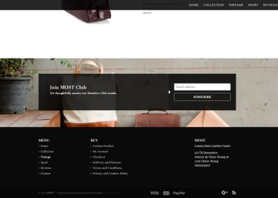 Создание сайта MOST - кожа из Швейцарии - mostleather.com